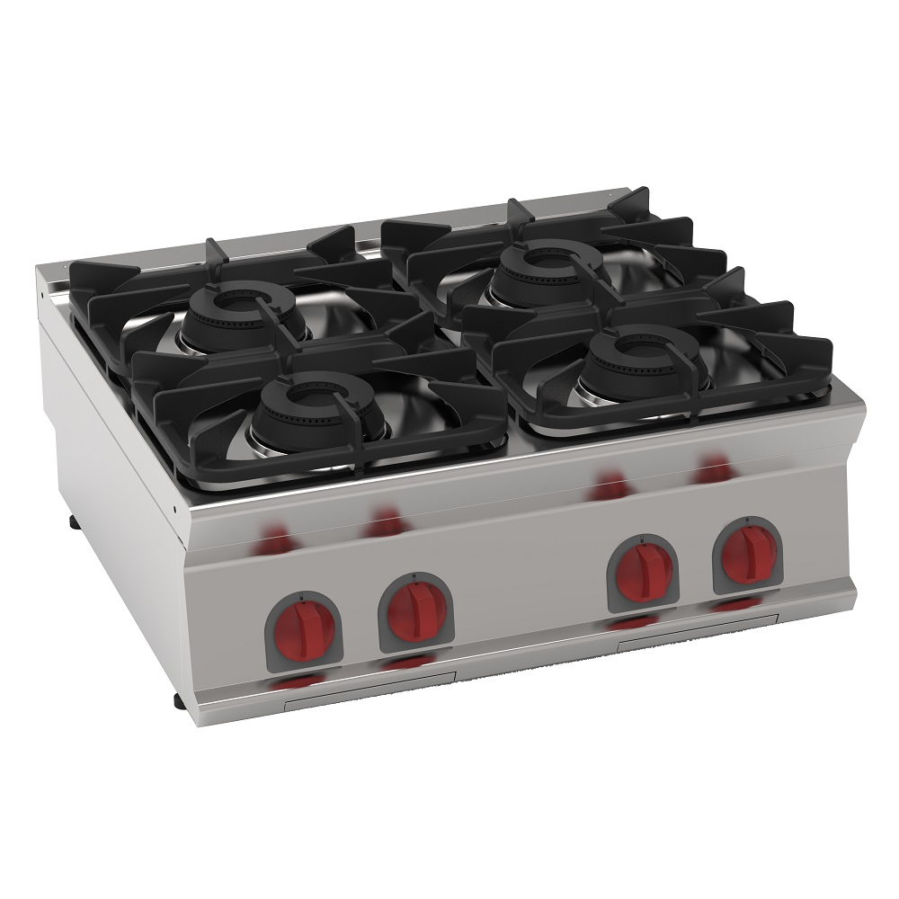 Eurast 35400317 Gas boiling 4 burners table top - 800x700x280 mm - 28.8 Kw