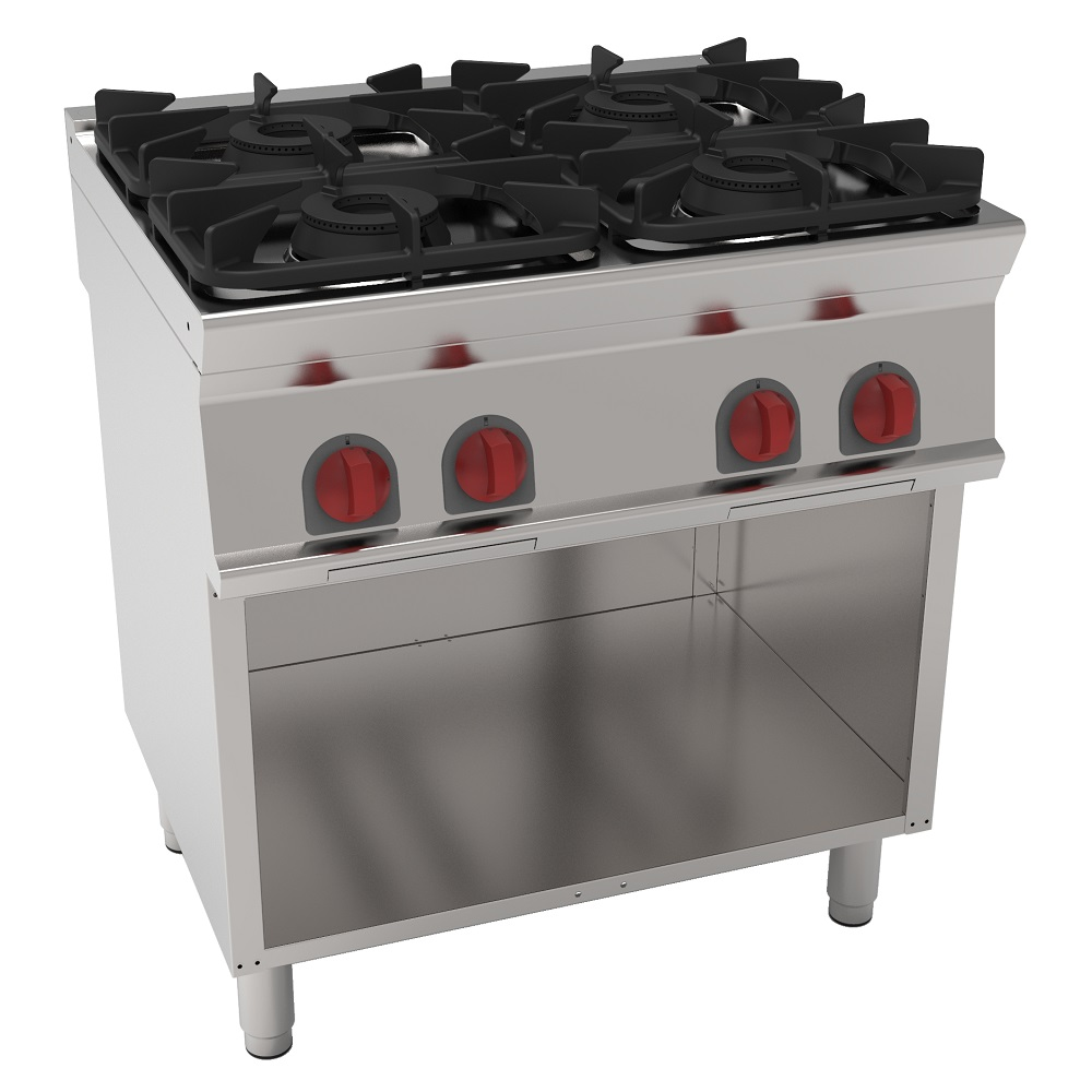 Eurast 35910317 Gas cooker 4 burners on open support - 800x700x900 mm - 28.8 Kw