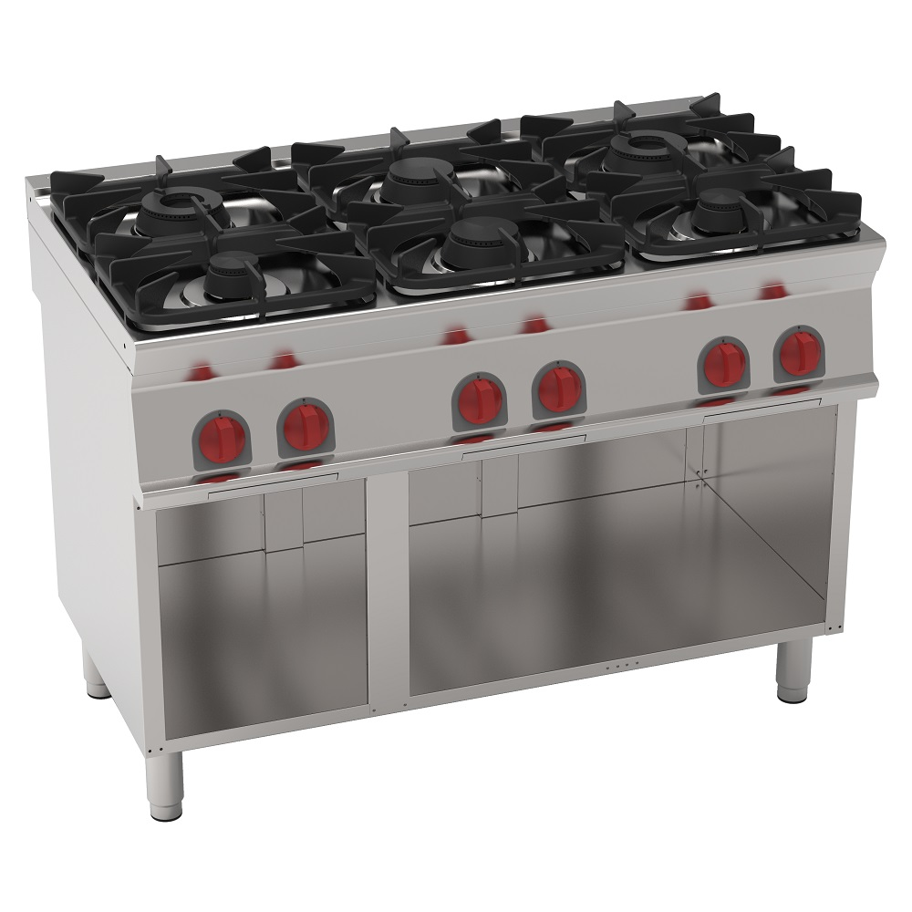 Eurast 35020317 Gas cooker 6 burners on open support - 1200x700x900 mm - 30 Kw