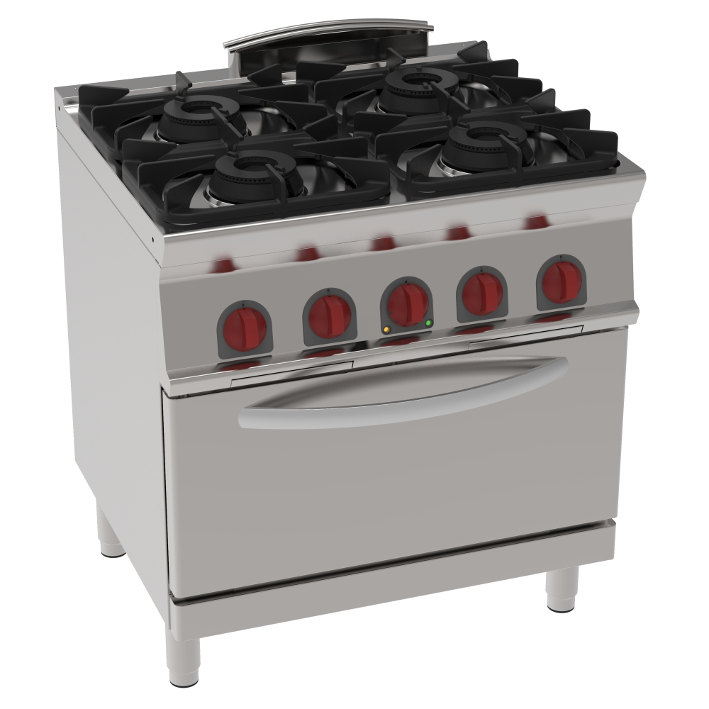 Eurast 35850317 Gas cooker 4 burners 1 electric static oven gn 2/1 - 800x700x900 mm - 19.5 Kw + 4,7
