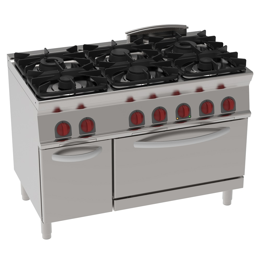 Eurast 35560317 Gas cooker 6 burners 1 gas static oven gn 2/1 - 1200x700x900 mm - 37 Kw