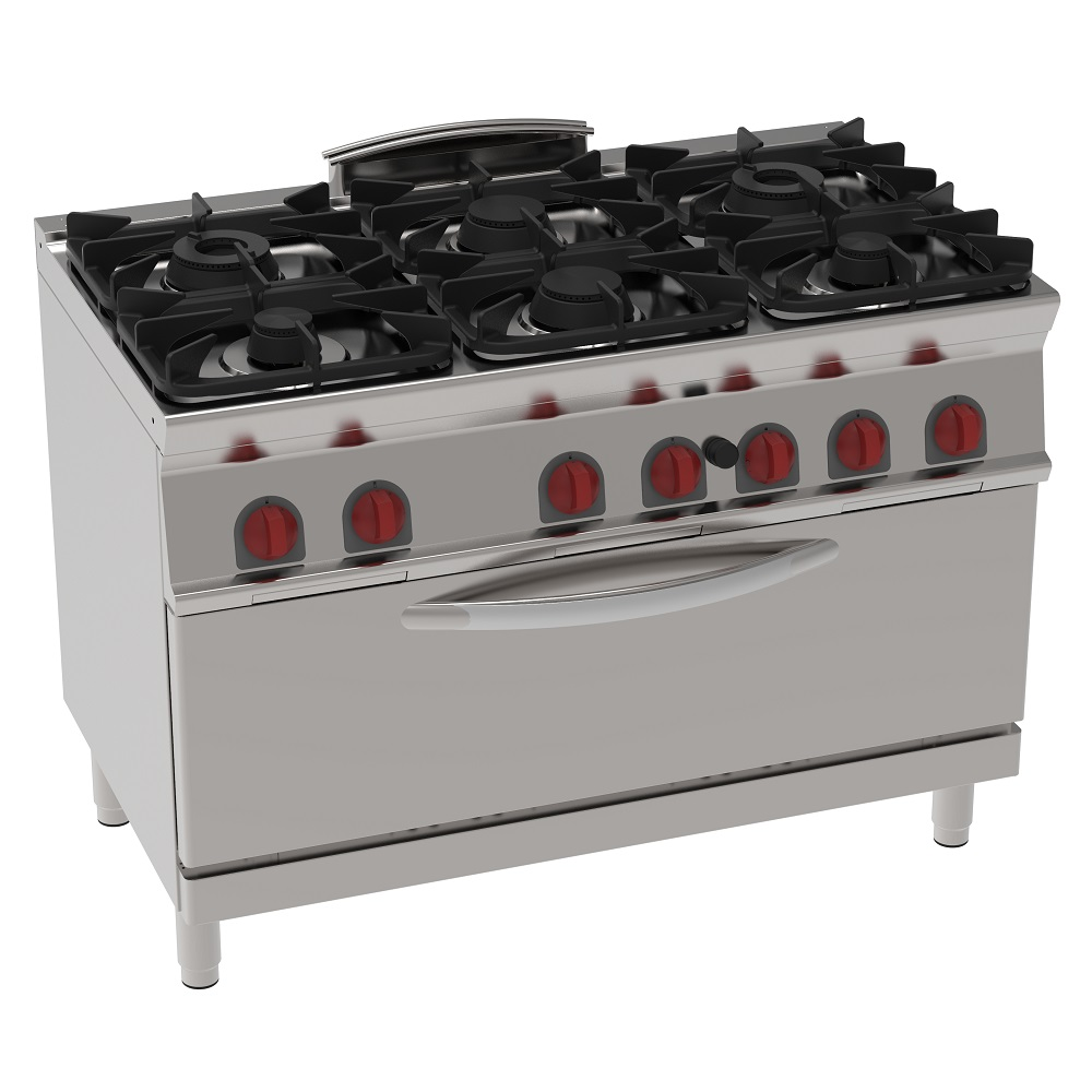 Eurast 35760317 Gas cooker 6 burners 1 gas static oven che - 1200x700x900 mm - 37 Kw