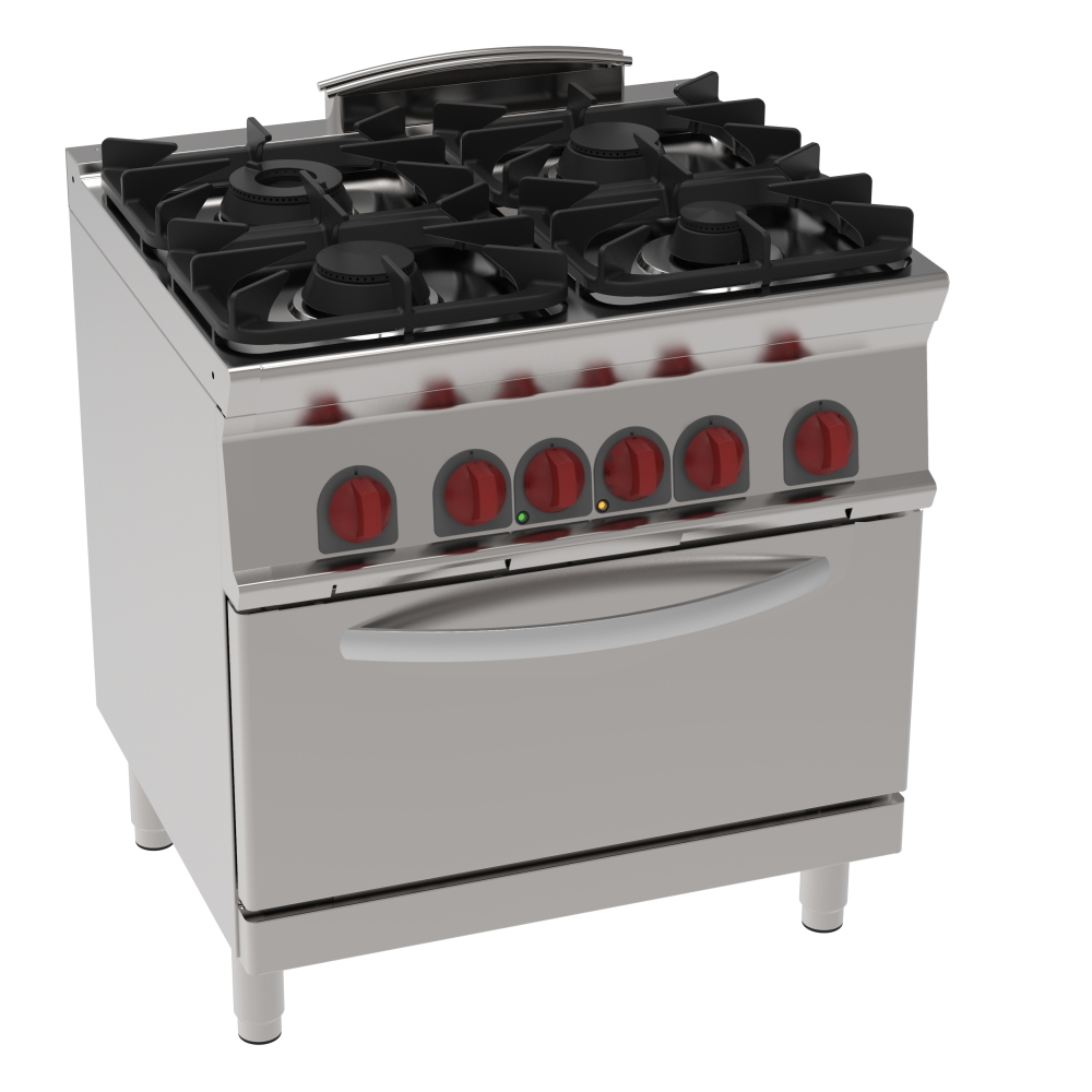 Eurast 41950317 Gas cooker 4 burners 1 conv. electr. oven gn 2/1 - 800x700x900 mm - 19.5 Kw + 5 Kw 4