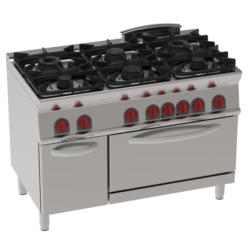 Eurast 41460317 Gas cooker 6 burners 1 convection electr. oven gn 2/1 - 1200x700x900 mm - 30 Kw + 5
