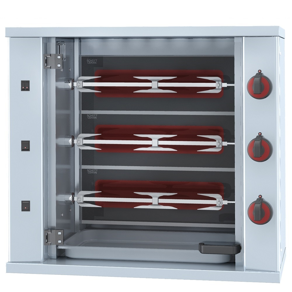 Eurast 53094G13 Electrical chicken roaster s glass-ceramic 3 spears = 9 chickens - 800x400x735 mm -