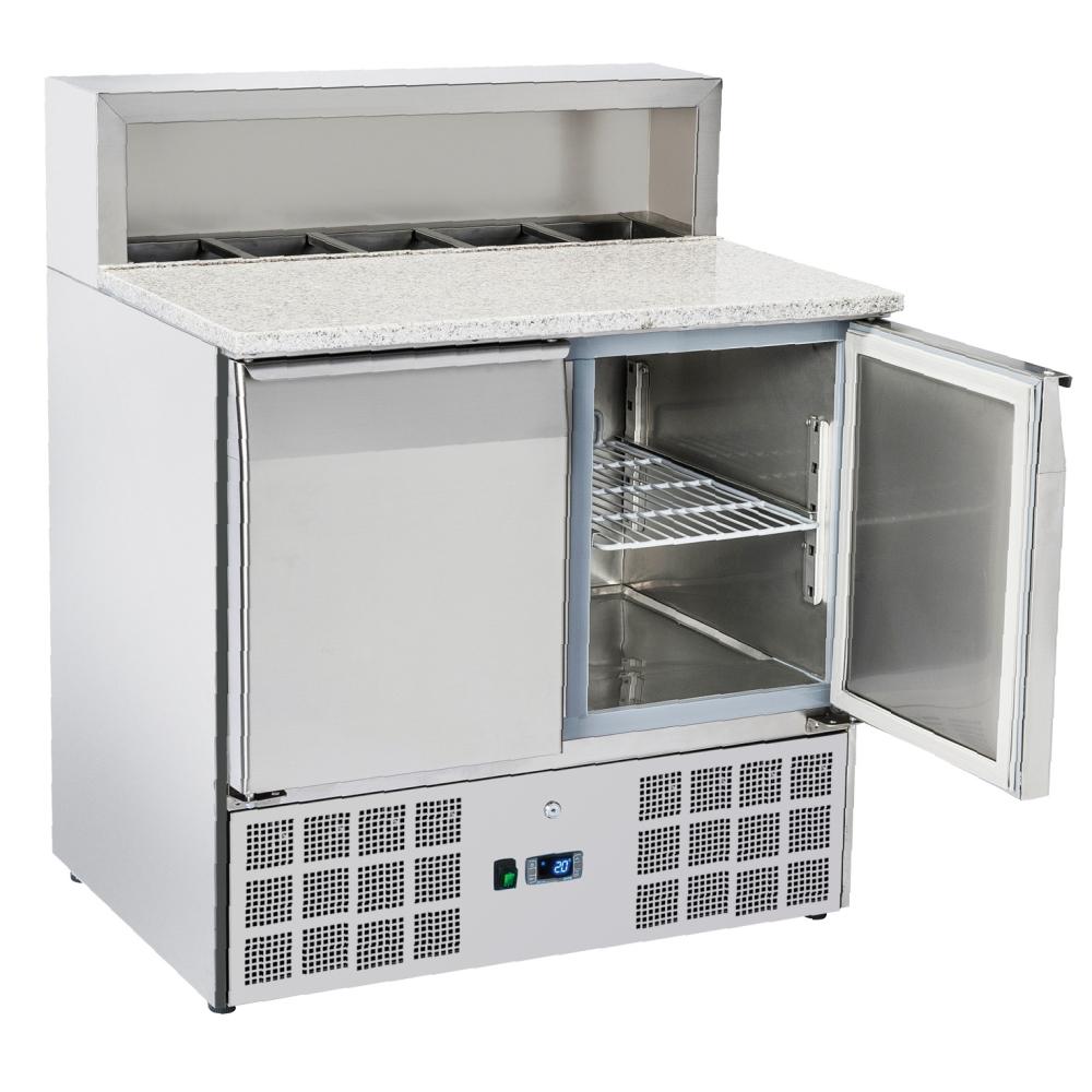 Eurast 74A09PRC Unit for preparing pizzas 2 doors dir.5 gn 1/6 - 900x700x880 mm - 300 W 230/1V