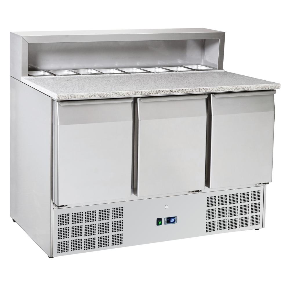 Eurast 75A39PRC Unit for preparing pizzas 3 doors dir.8 gn 1/6 - 1365x700x880 mm - 300 W 230/1V