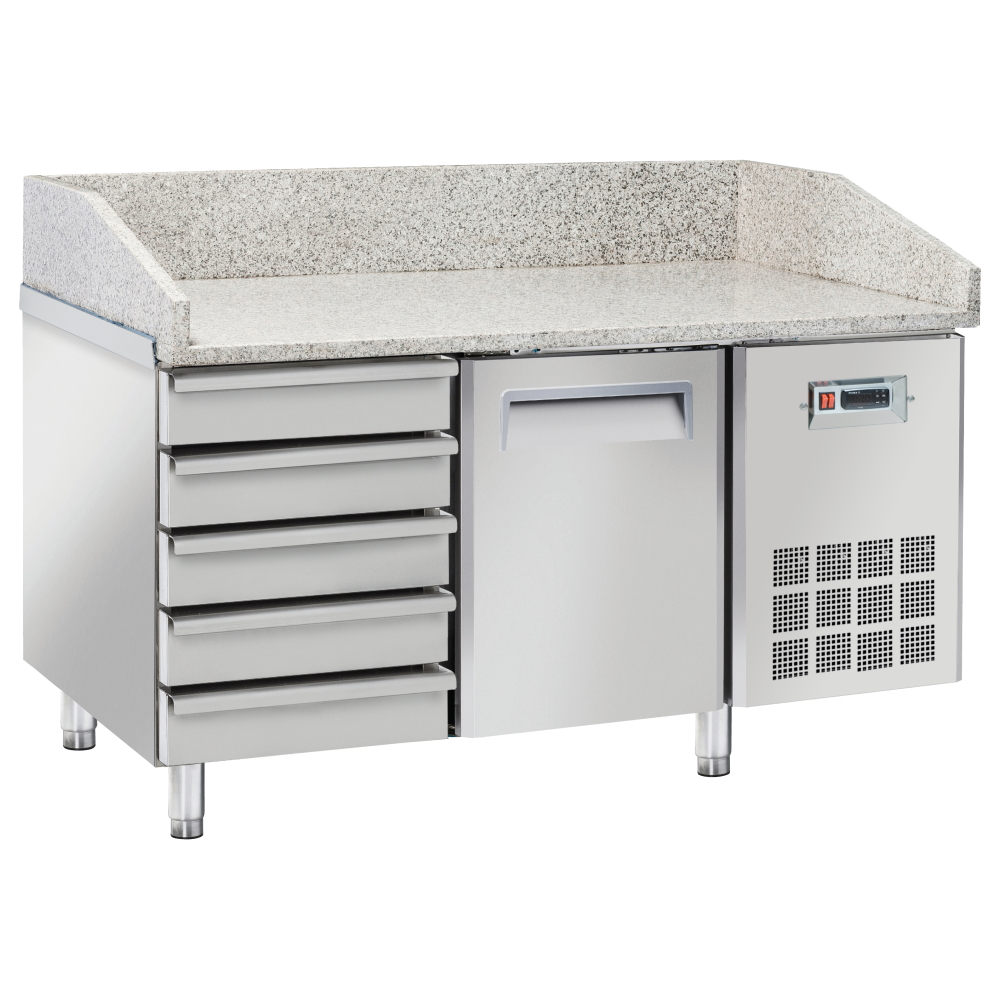 Eurast 747361ZQ Unit for preparing pizzas 1 door and 5 drawers - 1500x800x880 mm - 400 W 230/1V