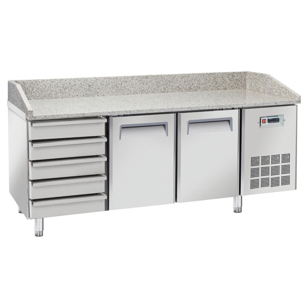 Eurast 748362ZQ Unit for preparing pizzas 2 doors and 5 drawers - 2025x800x880 mm - 400 W 230/1V