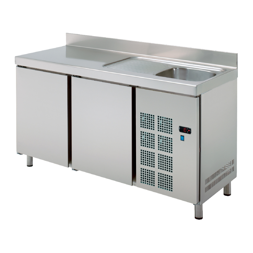Eurast 74579509 Cold table 2 doors and sink with drainer - 1500x600x850 mm - 400 W 230/1V