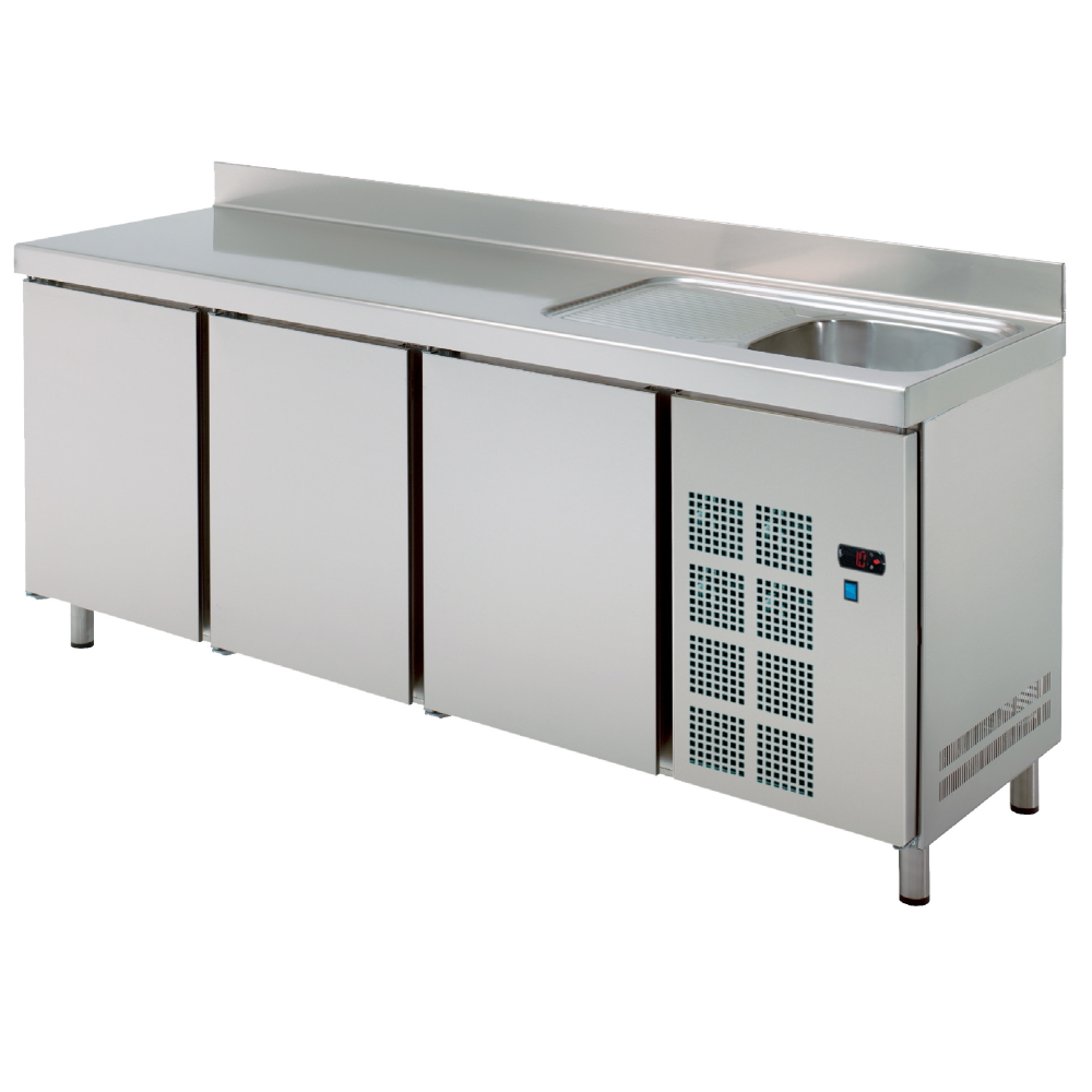 Eurast 73089509 Cold table 3 doors and sink with drainer - 2020x600x850 mm - 400 W 230/1V