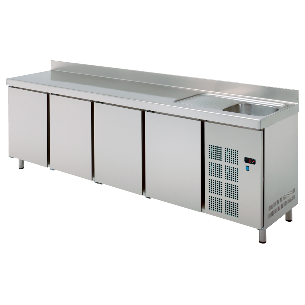 Eurast 70389509 Cold table 4 doors and sink with drainer - 2545x600x850 mm - 400 W 230/1V